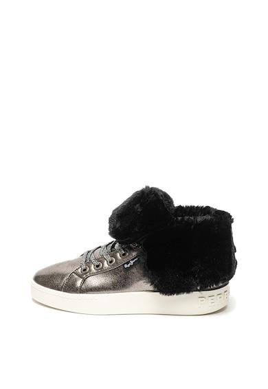 Pepe Jeans London Pantofi sport de piele ecologica, cu aspect metalizat Brixton Femei
