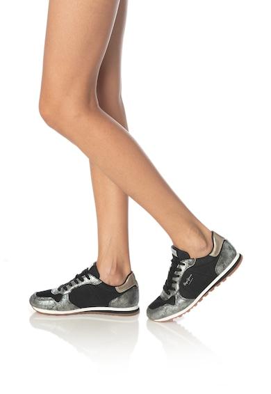 Pepe Jeans London Pantofi sport de piele ecologica, cu garnituri cu metalizate Verona Femei