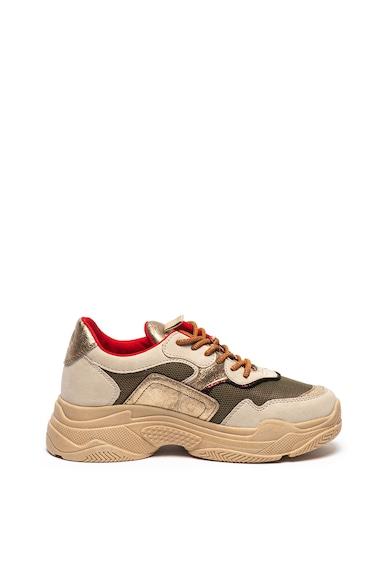 s.Oliver Pantofi sport de piele ecologica cu detalii cu aspect metalizat Femei