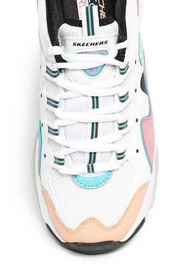 Skechers Pantofi sport din piele peliculizata cu insertii de plasa D'Lites 3.0 Femei