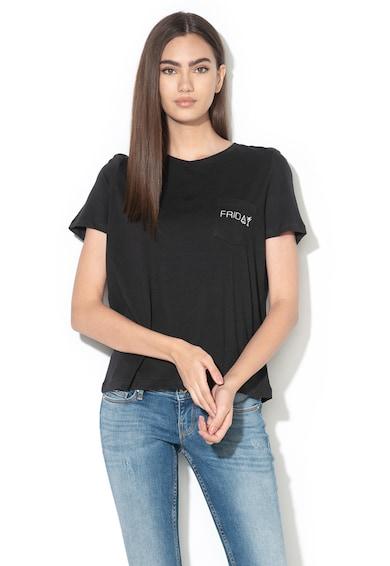 Vero Moda Tricou din bumbac organic cu buzunar pe piept Coral Femei