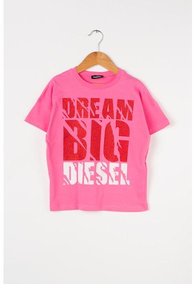Diesel Tricou cu imprimeu text si paiete Kyan Fete