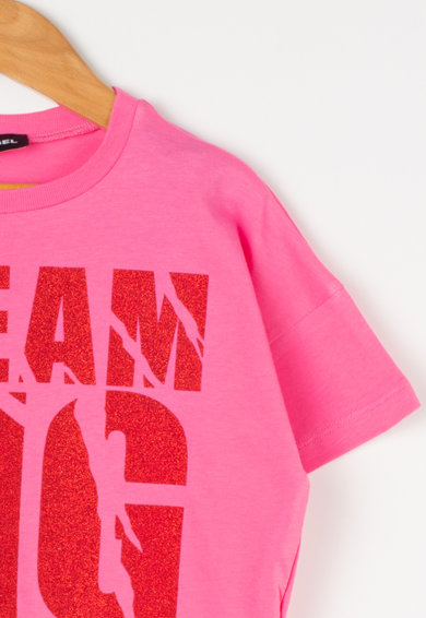 Diesel Тениска Kyan с текстова шарка и пайети Момичета