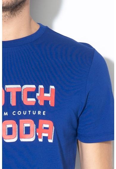 Scotch & Soda Tricou cu imprimeu logo si terminatie asimetrica Barbati