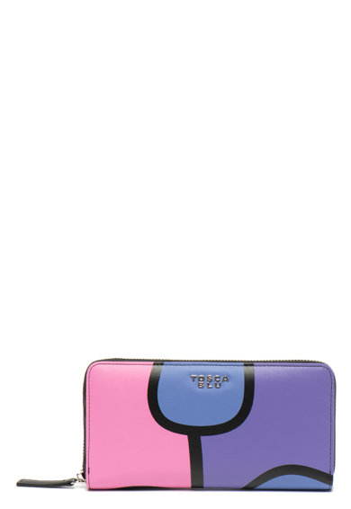 Tosca Blu Кожено портмоне Olivia с цветен блок и цип Жени