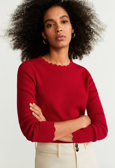 Mango Пуловер Arondita с вълнообразни краища Жени