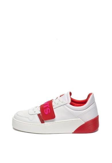 Levi's Pantofi sport de piele si material textil, cu velcro si logo Mullet Femei