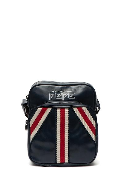 Pepe Jeans London Geanta crossbody de piele ecologica, cu aplicatii textile Yasur Barbati