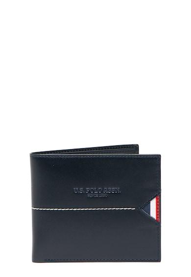 U.S. Polo Assn. Кожен портфейл с двойно сгъване и контрасти Мъже
