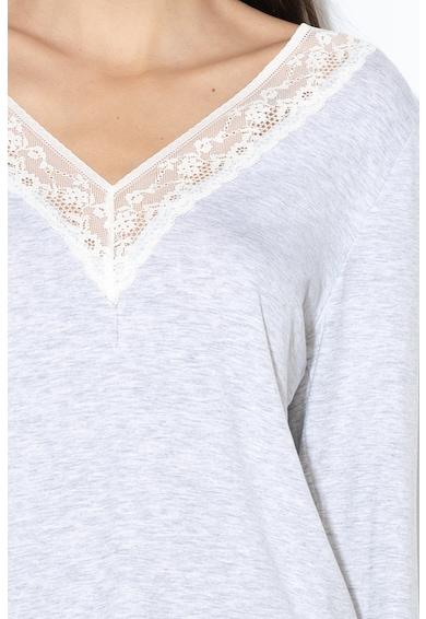 Dorina Bluza de casa din amestec de modal, cu insertii din dantela Heather Femei