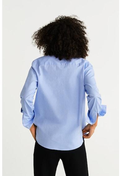 Mango Памучна риза Oxford с асиметричен подгъв Жени
