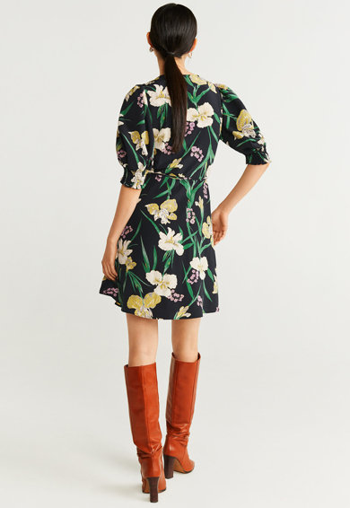 Mango Rochie cu imprimeu floral si model petrecut Cor Femei
