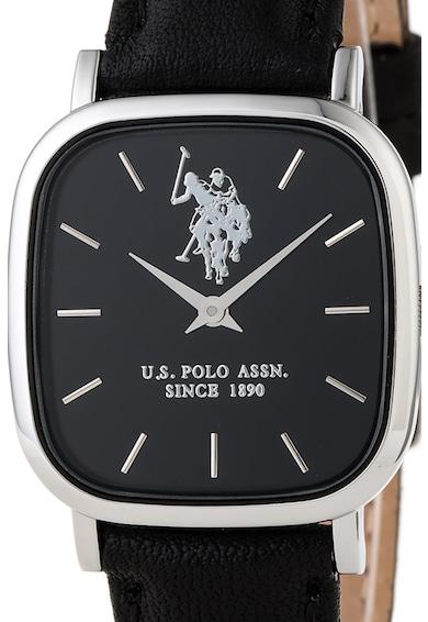 U.S. Polo Assn. Ceas patrat cu o curea de piele Femei