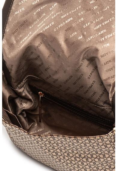 U.S. Polo Assn. Geanta de piele ecologica, cu bareta de umar si model logo Femei