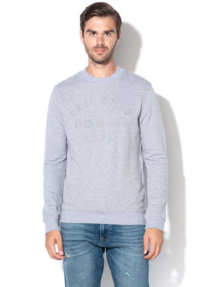 Selected Homme Bluza sport din bumbac organic cu text brodat Ray Barbati