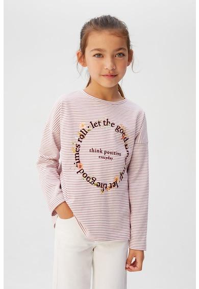 Mango Раирана блуза Bloom с надписи Момичета