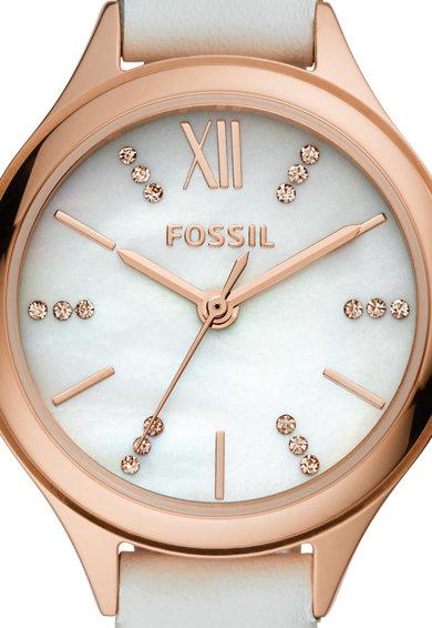 Fossil Кварцов часовник с кожена каишка Жени