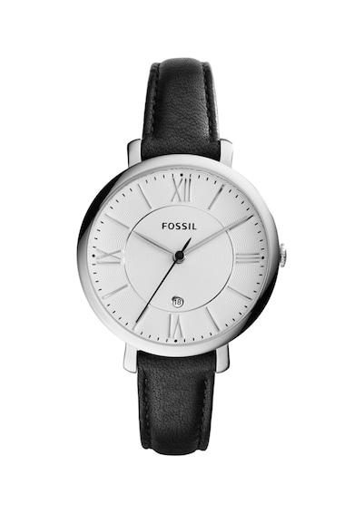 Fossil Аналогов часовник с кожена каишка Жени