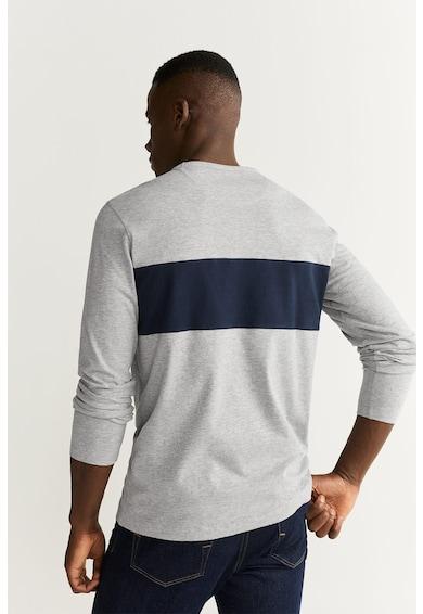Mango Памучна блуза с цветен блок Мъже