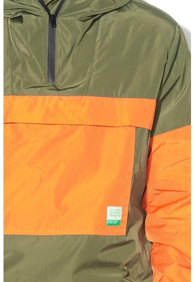 United Colors of Benetton Geaca windbreaker cu model colorblock si gluga ajustabila Barbati