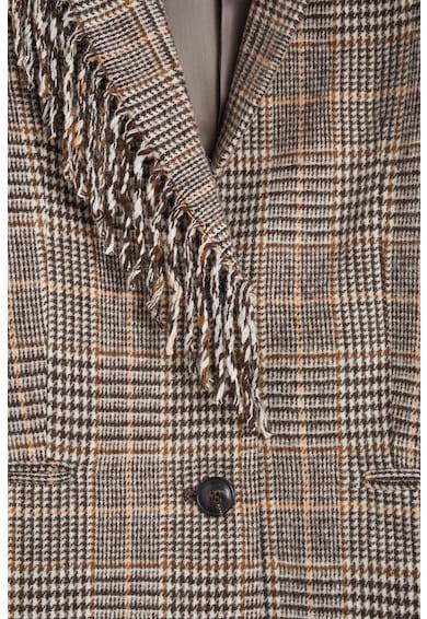 Mango Sacou din amestec de lana, cu franjuri Fleco Femei