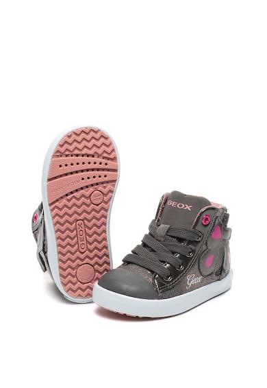 Geox Pantofi sport mid-high de piele ecologica, cu aspect lucios Kilwi Geox Respira® Fete