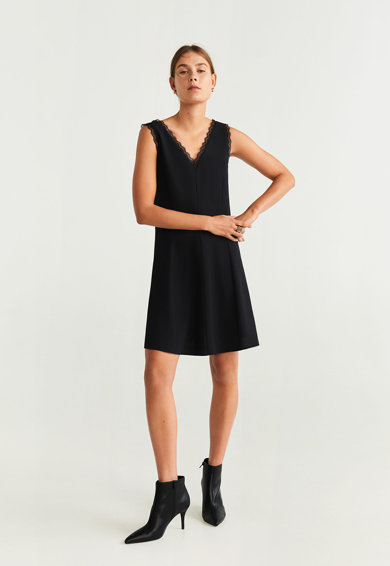 Mango Eva A-vonalú ruha csipkeszegéllyel női