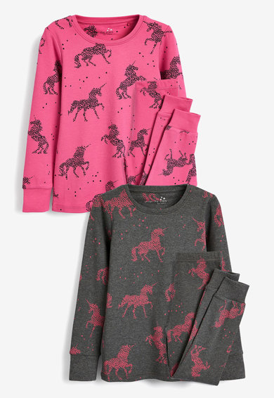 NEXT Set de pijamale cu pantaloni lungi si model inorog- 2 perechi Fete