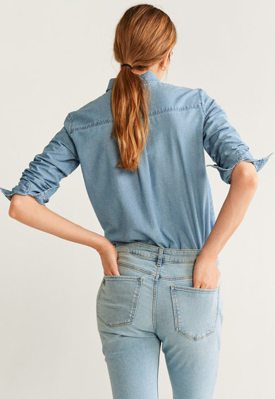 Mango Риза Claudia от шамбре с джоб на гърдите Жени