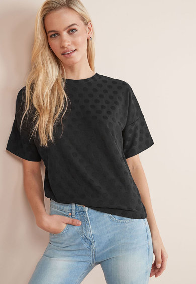 NEXT Tricou cu aspect texturat si model cu buline Femei