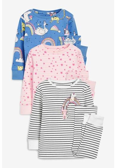 NEXT Set de pijamale de bumbac, cu imprimeu grafic, 3 perechi Fete