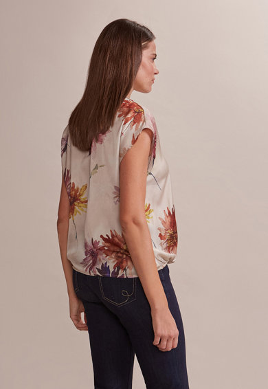 Oltre Bluza de satin cu imprimeu floral Femei