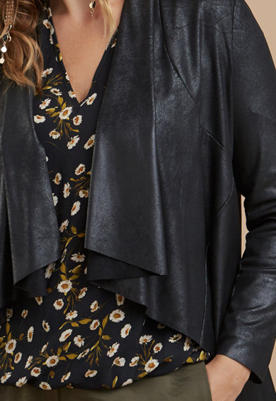 Fiorella Rubino Jacheta de piele ecologica, fara inchidere Femei