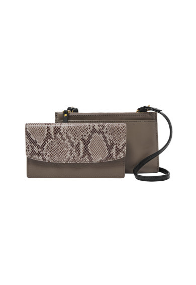 Fossil Кожена чанта Sage с шагрен Жени