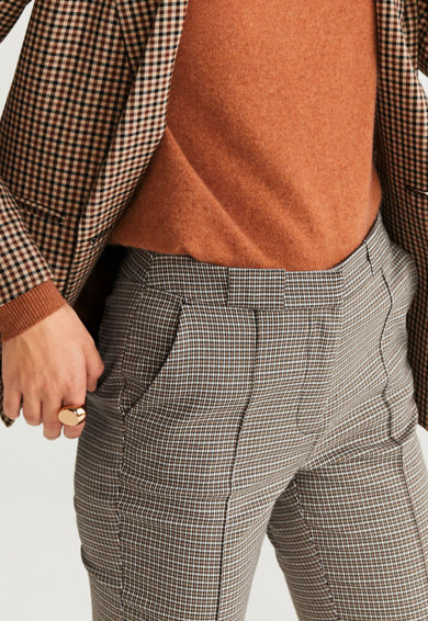 Mango Кариран панталон Warm Жени