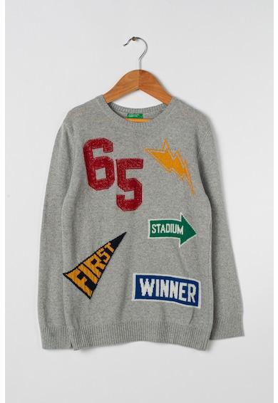 United Colors of Benetton Pulover din amestec de lana cu model text Baieti