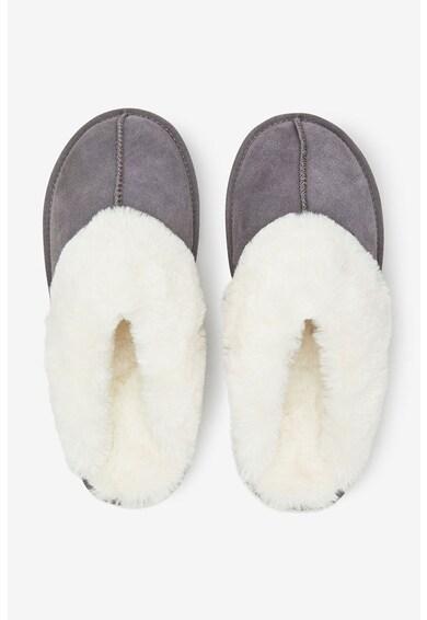 NEXT Papuci de casa, de piele intoarsa, cu aplicatii de blana sintetica Femei