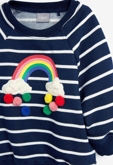 NEXT Bluza sport cu model in dungi si aplicatii de ciucuri Fete