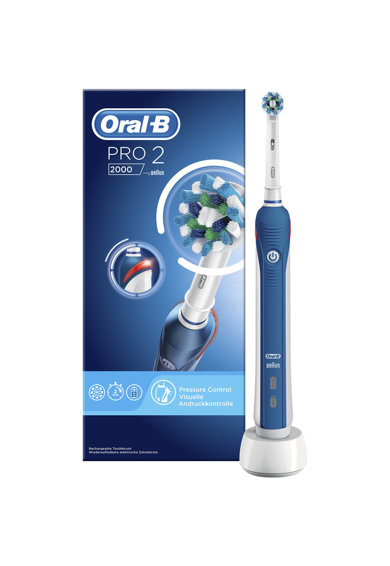 Oral-B Ел. четка за зъби  PRO 2 2000 Cross Action, 3D почистване, Сензор за натиск, Бяла/Синя Жени