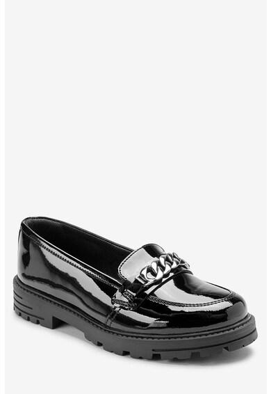 NEXT Pantofi loafer de piele lacuita, cu detaliu din lant Fete