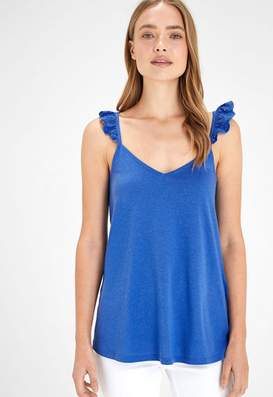 NEXT Bluza din amestec de modal, fara maneci, cu volane Femei