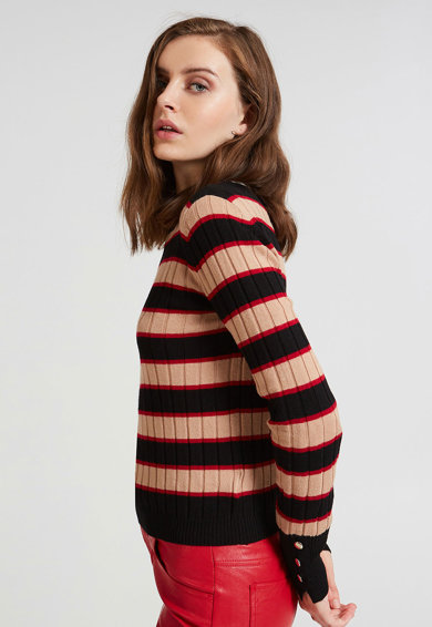 Motivi Pulover din tricot cu striatii si mansete cu nasturi Femei