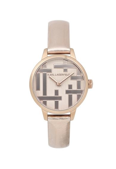 Karl Lagerfeld Овален часовник с кожена каишка Жени
