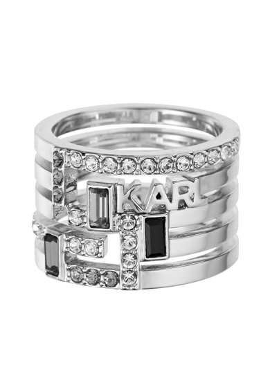 Karl Lagerfeld Inel placat cu rodiu, cu cristale Swarovski® Femei