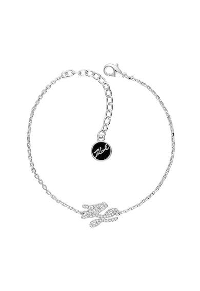 Karl Lagerfeld Bratara placata cu rodiu, cu talisman logo Femei