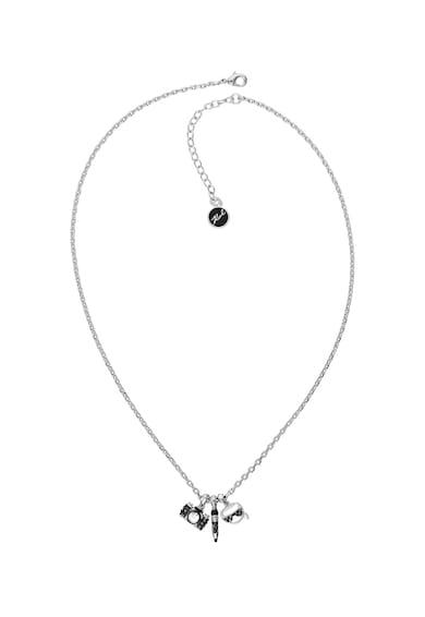 Karl Lagerfeld Колие с родиево покритие и висулка с кристали Swarovski® Жени