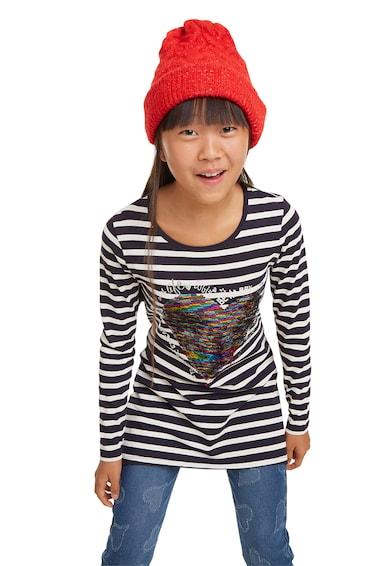 DESIGUAL Bluza cu model in dungi si paiete reversibile Fete