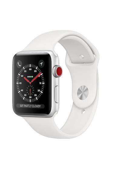 Apple Watch 3, GPS, Cellular, Carcasa Silver Aluminium 38mm, White Sport Band Femei