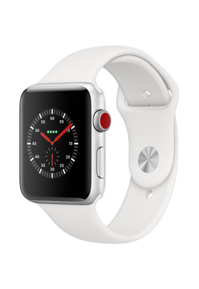 Apple Watch 3, GPS, Cellular, Carcasa Silver Aluminium 42mm, White Sport Band Femei