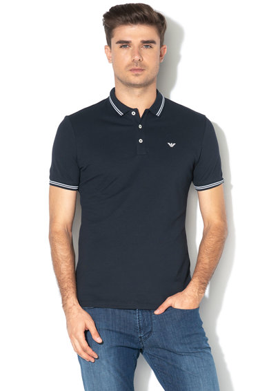 Emporio Armani Tricou polo din pique, cu logo discret Barbati